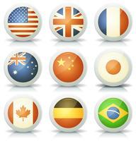 Ensemble d'icônes de drapeaux brillants vecteur