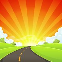 Route d'été avec soleil brillant vecteur