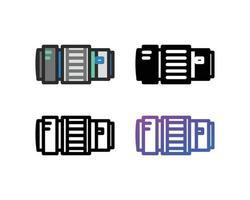 jeu d'icônes d'objectif de caméra vecteur