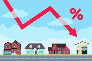 le prix de l'immobilier comme une flèche tombe du ciel pendant plusieurs pour cent. bon concept d'investissement ou prix bas pour l'achat d'une nouvelle maison. divers bâtiments ensemble et flèche saute bannière style plat vector illustration