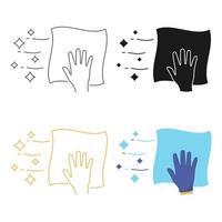 icône linéaire de serviette de nettoyage. désinfection des surfaces. lingettes de surface, désinfection. serviette de nettoyage en glyphe, contour et style plat. symbole de contour. trait modifiable. vecteur