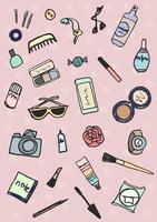 collection d'accessoires de maquillage dessinés à la main vecteur