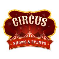Bannière de cirque avec chapiteau