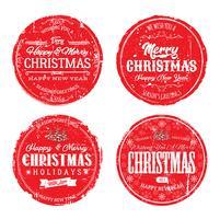 Joyeux Noël Grunge Badges vecteur