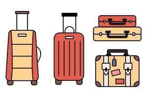 ensemble et collection d'icônes de bagages. sac à dos, sac à main, valise, porte-documents, sac messager, chariot, sac de voyage. icônes de fine ligne. icône de trait modifiable. illustration vectorielle. vecteur