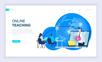 Bannière Web d'enseignement en ligne vecteur