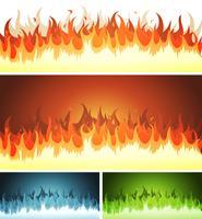 Ensemble flammes, flammes et feu brûlant