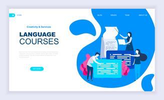 Cours de langue Bannière Web vecteur