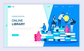 Bannière Web de la bibliothèque en ligne vecteur