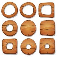 Bagues, cercles et formes en bois pour le jeu de l'interface utilisateur vecteur