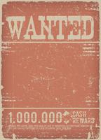 Affiche recherchée sur fond grunge rouge