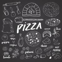 menu de pizza ensemble de croquis dessinés à la main. modèle de conception de préparation de pizza avec fromage, olives, salami, champignons, tomates, farine et autres ingrédients. illustration vectorielle isolée sur fond blanc vecteur
