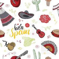 Éléments de doodle de modèle sans couture d'Espagne, croquis dessinés à la main crevettes de cuisine espagnole, olives, raisin, drapeau et lettrage fond d'illustration vectorielle. vecteur