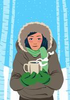 Portrait de jeune mannequin en hiver à l'extérieur vecteur