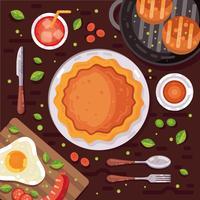 Vecteur de frais généraux de table de Thanksgiving