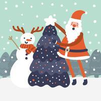 Jolie scène de Noël avec le père Noël et le bonhomme de neige vecteur