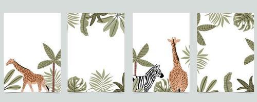 collection de fond safari avec girafe vecteur