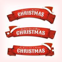 Joyeux Noël voeux sur des bannières en bois rouge