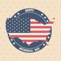 joyeux jour commémoratif, carte avec insigne de drapeau étoiles frontière célébration américaine vecteur
