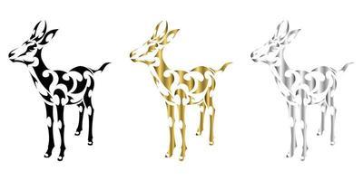 Le vecteur d'art de ligne d'argent d'or noir de trois couleurs de springbok convient pour une utilisation comme décoration ou logo