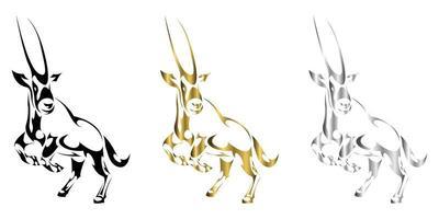 illustration vectorielle en trois couleurs or noir argent d'un gemsbok soulevant deux pattes avant pour se préparer à courir, il semble fort et puissant adapté à une utilisation dans des logos ou des décorations vecteur