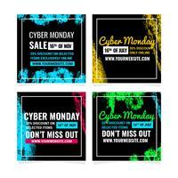Messages de médias sociaux Vector Cyber Monday