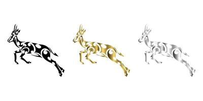 vecteur d'art en ligne argent or noir trois couleurs de springbok saute approprié pour une utilisation comme décoration ou logo