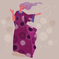 Caftan élégant femme à la mode profiter et s'amuser vecteur