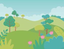 paysage collines fleurs arbres feuillage nature verdure image vecteur