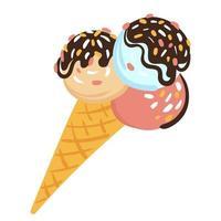 boules de crème glacée versées avec du chocolat dans un cornet gaufré. illustration dessinée à la main sur fond blanc isolé vecteur