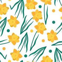 motif floral sans couture avec des jonquilles, des feuilles vertes et des cercles. fond de vecteur de fleurs jaunes dessinés à la main