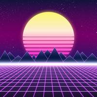 Synthwave design rétro, montagnes et soleil, illustration