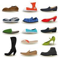 Ensemble chaussures, bottes, baskets et chaussures vecteur