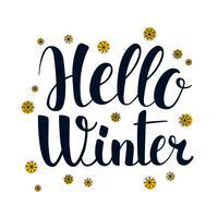 Bonjour hiver, conception de bannière de saison de calligraphie, illustration