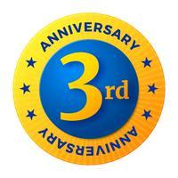 Insigne du troisième anniversaire, étiquette de célébration en or vecteur