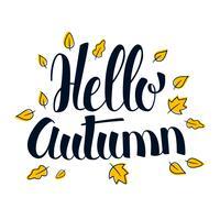 Bonjour l'automne, conception de bannière de saison de calligraphie, illustration