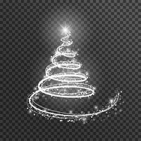 Sapin de Noël sur fond transparent. Arbre de Noël de lumière blanche comme symbole de bonne année.