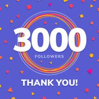 3000 adeptes, post de sites sociaux, carte de voeux