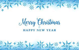 Fond de Noël avec des flocons de cristal de couleur bleue
