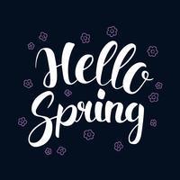 Bonjour printemps, conception de bannière de saison de calligraphie, illustration