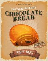 Affiche de pain au chocolat grunge et vintage