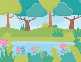 paysage arbres fleurs rivière feuillage nature verdure image vecteur