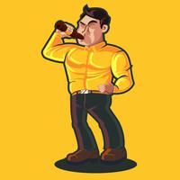 Guy boire de la bière vecteur