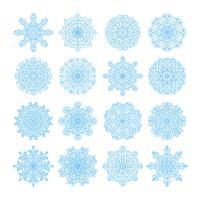 Symboles de vecteur de flocon de neige, jeu d'icônes de Noël neige