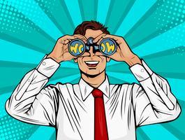 Wow pop art visage d'homme surpris bouche ouverte tenant des jumelles à la main avec inscription wow en réflexion. Illustration vectorielle dans un style bande dessinée rétro.