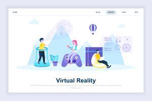 Concept de design plat moderne de lunettes de réalité augmentée virtuelle vecteur