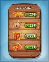 Interface d'achat de crédits pour le jeu Ui vecteur