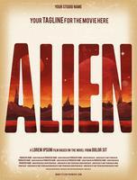 Modèle d'Affiche de film extraterrestre vecteur