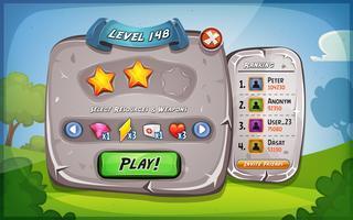 Panneau de niveau avec options pour le jeu de l'interface utilisateur vecteur