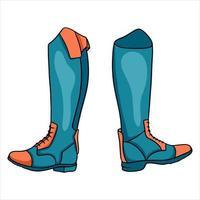 vêtements de cavalier de tenue pour l'illustration de bottes de jockey dans le style de dessin animé vecteur